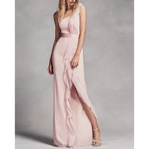 One-Shoulder Bridesmaid Dress w/ Ruffles, Size 8